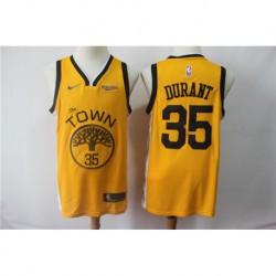 Men NBA Golden State Warriors 35 Kevin Durant Swingman Jersey-2019-Yello