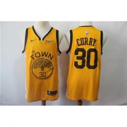 Men NBA Golden State Warriors 30 Curry Swingman Jersey-2019-Yello