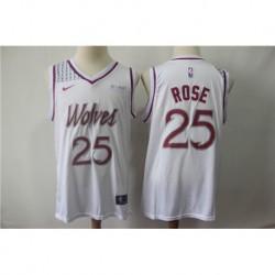 Men NBA Minnesota Timberwolves 25 Rose White Jersey-201