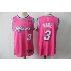 Men NBA Miami Heat 3 Wade Pink Jersey-201