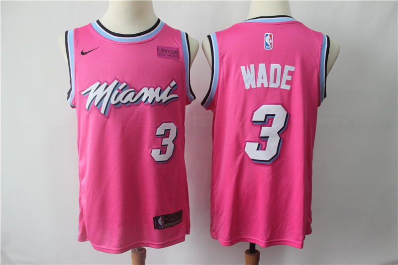 Nba Miami Heat Jersey Miami Heat Jersey Nba Men Nba Miami Heat 3 Wade Pink Jersey 2019
