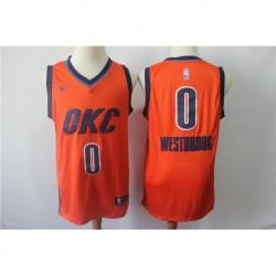 Men NBA Oklahoma City Thunder 0 Westbrook Orange Jerse