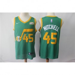 Men NBA Utah Jazz 45 Donovan Mitchell Statement Swingman Jersey-Gree