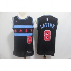 Men NBA Chicago Bulls 8 LAVINE Swingman City Edition Jersey Blac
