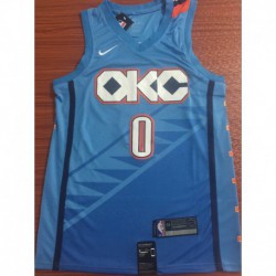 Men NBA Oklahoma City Thunder 0 Westbrook Simmons Swingman City Edition Jerse