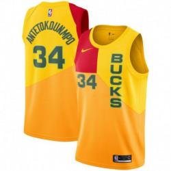 Men NBA Milwaukee Bucks 34 Antetokounmpo Swingman City Edition Jerse