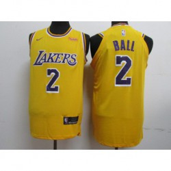 Men NBA Los Angeles Lakers 2 Ball Icon Edition Swingman Jersey-2018-3 colo