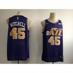 Men NBA Utah Jazz 45 Donovan Mitchell Statement Swingman Jersey-Purpl