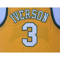 Men NBA Iverson High School 3 Yellow Green Basketball Jerse