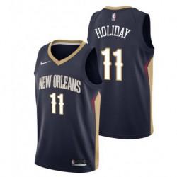 Men NBA 2017-18 jrue holiday new orleans pelicans 11 basketball jersey - dark blu