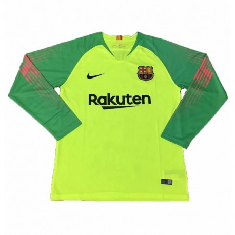 buy online 5cb6c 40e77 Barcelona Lime Green Kit,Barcelona Green Away Shirt,2018-2019 Barcelona  Green Goalkeeper Long Sleeve Soccer Jersey