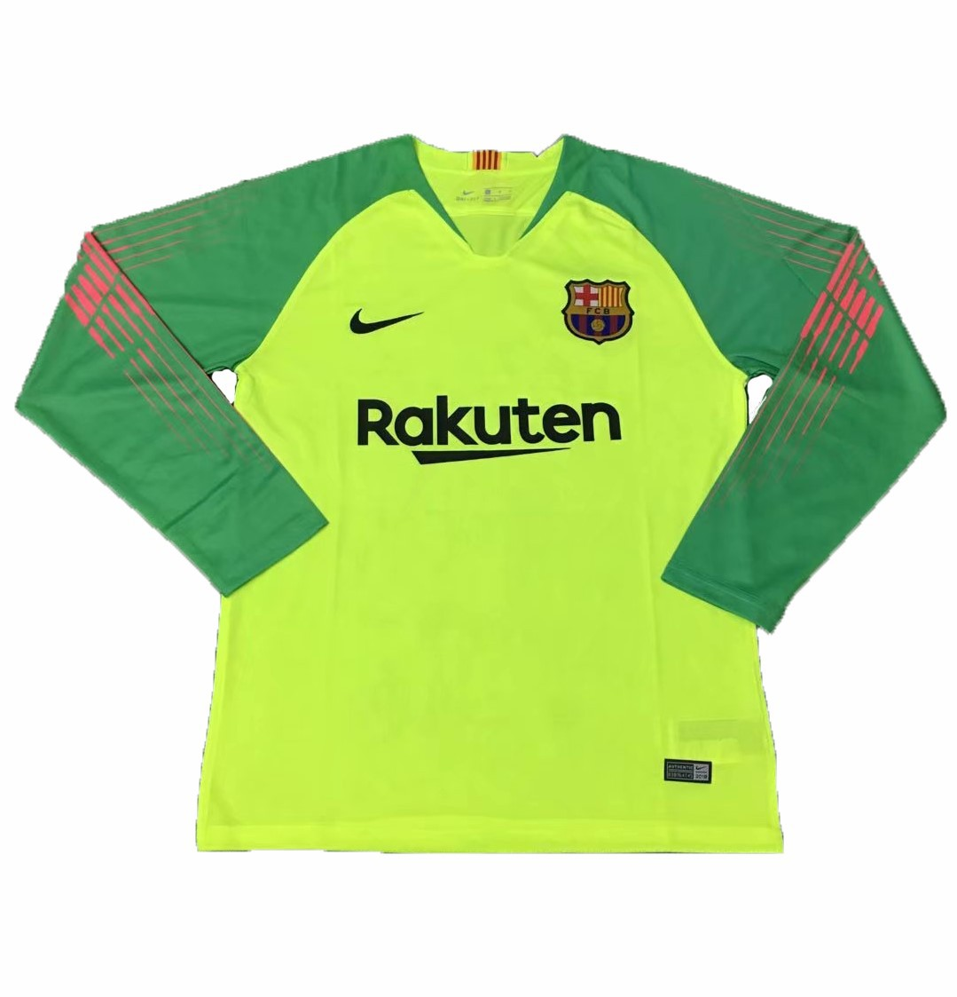 buy online b452f 53b75 Barcelona Lime Green Kit,Barcelona Green Away Shirt,2018-2019 Barcelona  Green Goalkeeper Long Sleeve Soccer Jersey