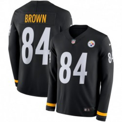 Men NFL Pittsburgh Steelers Brown Long Sleeve Jerse