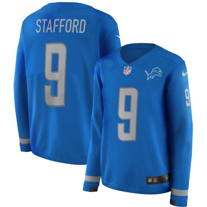 Cheap NFL Hoodies China,Best Replica NFL Jerseys,Women NFL Detroit Lions STAFFORD Long Sleeve Jersey