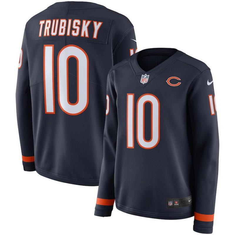 Nike NFL Bears Jersey,Cheap NFL Jerseys Bears,Women NFL Chicago Bears TRUBISKY Long Sleeve Jersey