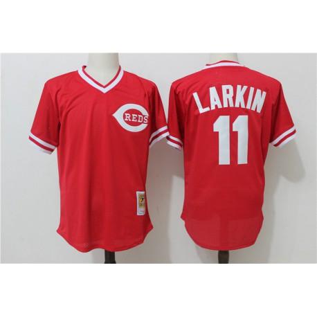 Custom MLB Jerseys China,Wholesale MLB Hats China,Barry Larkin Cincinnati Reds Mitchell & Ness Throwback Cooperstown Mesh Batti
