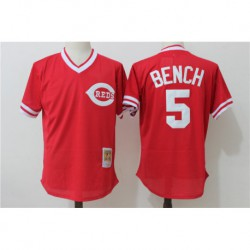 Johnny bench cincinnati reds mitchell & ness 1983 authentic copperstown collection mesh batting practice jerse