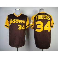 Joe 34 rollie fingers 1978 san diego padres mitchell & ness authentic throwback jersey - brown,san diego padre