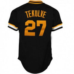 Joe 27 mitchell & ness pittsburgh pirates kent tekulve 1982 cooperstown collection authentic practice jersey - black,philadelph