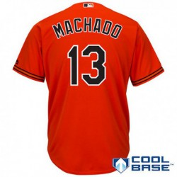 Joe 13 manny machado baltimore orioles majestic cool base player jersey - orange,baltimore oriole