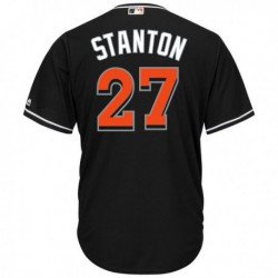 Joe 27 giancarlo stanton miami marlins majestic cool base player jersey - black,miami marlin