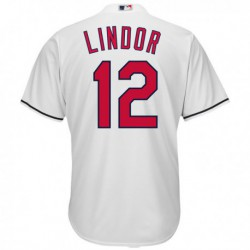 Joe 12 Cleveland Indians Majestic Official Cool Base Francisco Lindor Player Jersey - White,cleveland Indian