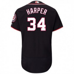 Joe 34 bryce harper washington nationals majestic alternate flex base authentic collection player jersey - navy,washington nati