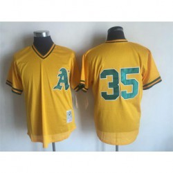 Joe rickey henderson oakland athletics mitchell & ness cooperstown mesh batting practice jersey - yellow,oakland athletic