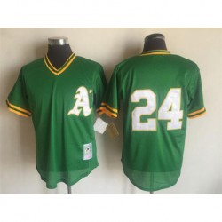 Joe rickey henderson oakland athletics mitchell & ness 1991 cooperstown mesh batting practice jersey - green,oakland athletic