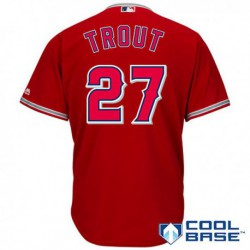 Joe 27 mike trout los angeles angels of anaheim majestic cool base player jersey red/Gray/White,los angeles angels of anahei