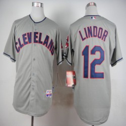 Joe Men's Cleveland Indians 12 LINDOR Majestic Road Cool Base Jersey,shop By ML