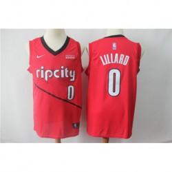 Men NBA Portland Trail Blazers 0 Lillard Red Jerse