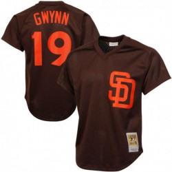 Joe 19 tony gwynn san diego padres mitchell & ness cooperstown mesh batting practice jersey - navy/Brown/Gold,san diego padre