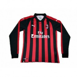2018-2019 AC Milan Home Long Sleeve Soccer Jerse