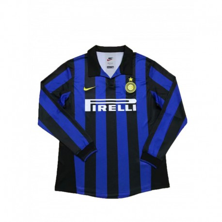 1998-1999 Inter Milan Home Long Sleeve Retro Soccer Jersey Shir